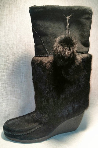 Ladies Leather Boot with Rabbit Fur