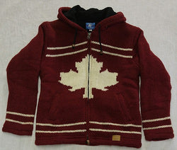 Burgundy with Featured Maple Leaf with Detachable Hood