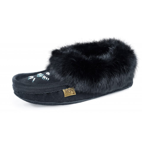 Ladies Rabbit Trimmed Leather Beaded Moccasins