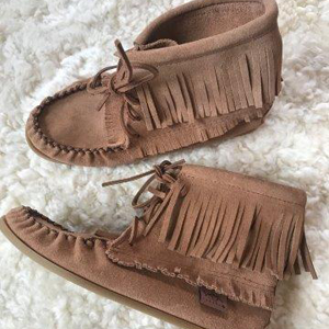 Ladies Tall Moosehide Moccasin with Rubber Sole
