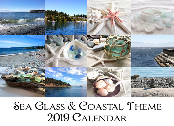 NEW Sea Glass & Coastal Theme 2019 Calendar