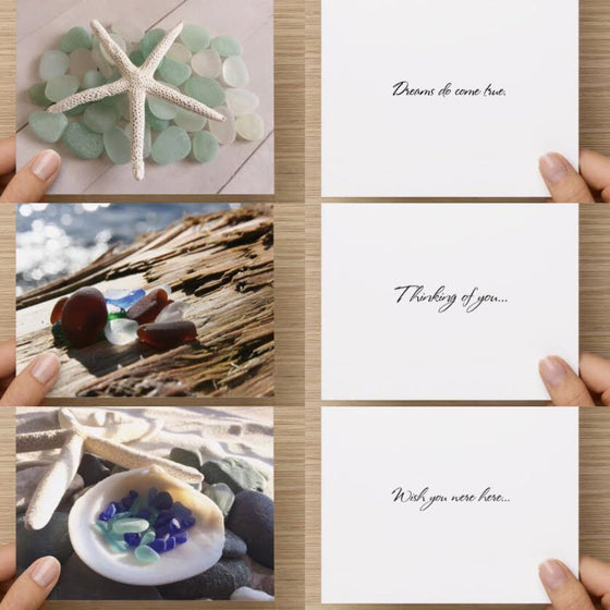 Ocean Theme Sea Glass Greeting Card Set of 3 - High Tide Pictures & Gifts