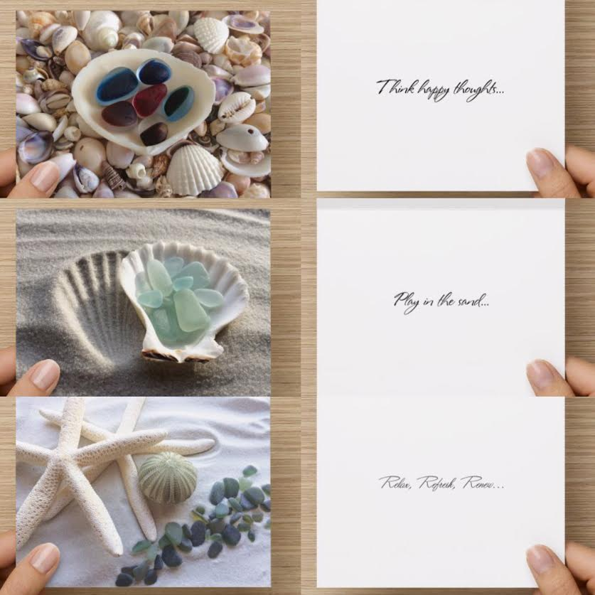 Coastal Theme Sea Glass Greeting Card Set of 3