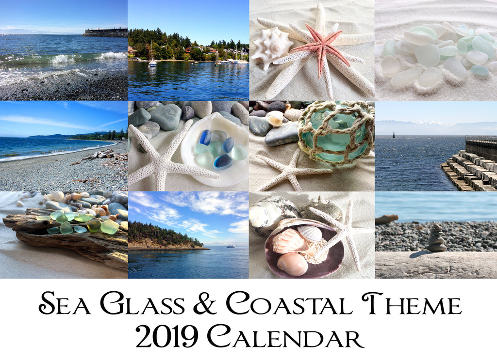 "NEW ""Sea Glass & Coastal Theme 2019 Calendar"""