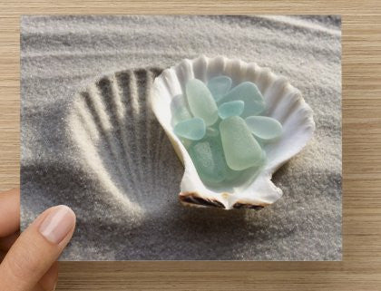 Sea Foam Sea Glass and Sand Greeting Card - High Tide Pictures & Gifts