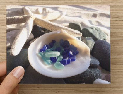 Ocean Theme Sea Glass Greeting Card Set of 3