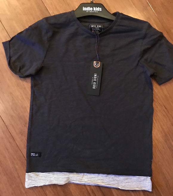 Striped Hem Tee Charcoal Size 3 to 7