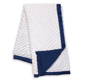 Peanut Shell Plush Dot Blanket Navy