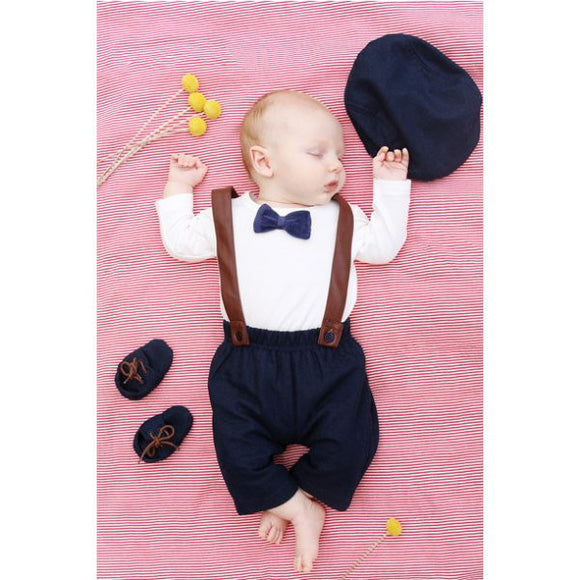 Bebe Baby Boy Archie Navy tweed Pants w suspenders