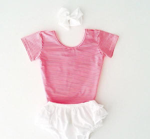 Little Hearts Co. CANDY STRIPE | SHORT SLEEVE LEOTARD