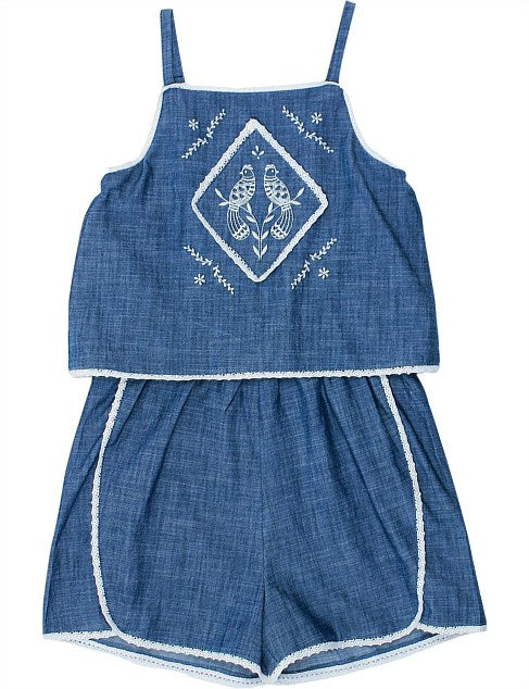 Tahlia Jaipur Chambray Playsuit W Embroidery