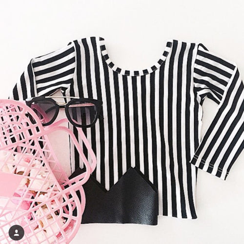 Little Hearts Co BLACK + WHITE LONG SLEEVE LEOTARD