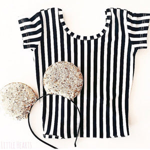 Little Hearts Co BLACK AND WHITE STRIPE SHORT SLEEVE LEOTARD