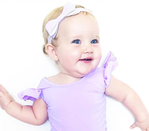 Little Hearts Co LUXE FRILL SHORT SLEEVE Leotard/Swimwear | Lilac + Mint