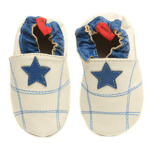 White Stars Full Leather Pre Walker Shoes
