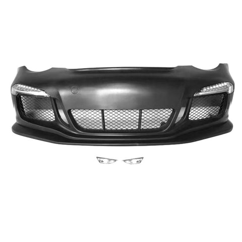 05-12 Porsche Carrera 911 997 to 991 GT3 RS Style Front Bumper Cover w/ DRL
