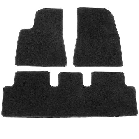 17-19 Tesla Model 3 Floor Mats Front and Second Row - Black Nylon