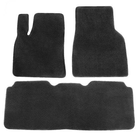 12-19 Tesla Model S Floor Mats Front and Second Row - Black Nylon