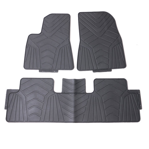 17-19 Tesla Model 3 Heavy Duty Black Latex Floor Mats Front and Second Row
