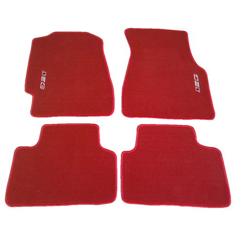 92-95 Honda Civic 3Dr Floor Mats With EG Logo Red - 4PC