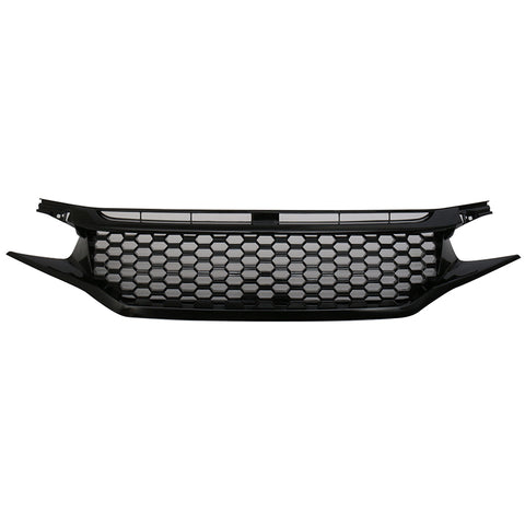 16-17 Honda Civic Coupe Sedan Glossy Black Mesh Grille With Eyebrows
