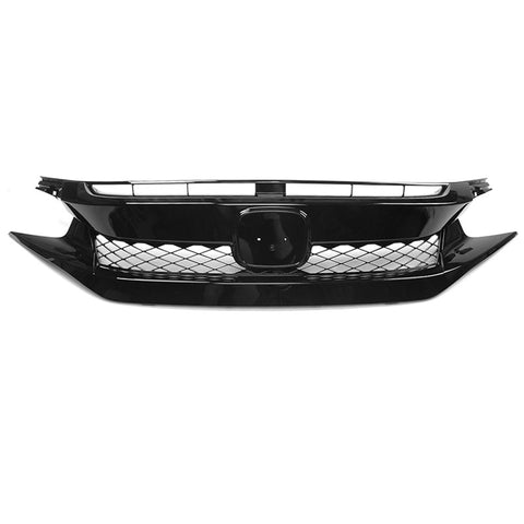 19-20 Honda Civic T-R Style Glossy Black Front Bumper Mesh Grille - ABS