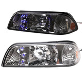 87-93 Ford Mustang Blue/White LED Headlights With Amber Reflector Chrome