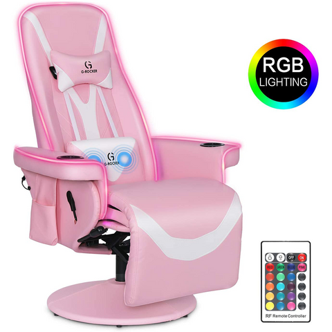 G-ROCKER Queen Throne Video Gaming Chair with RGB LED Lights, High Back Ergonomic Swivel Reclining Chair with Massage Lumbar Support, Backrest and Footrest, Headrest and Cupholders