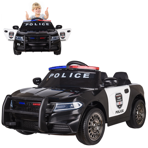 Police Pursuit 12V Electric Ride On Car for Kids with 2.4G Remote Control, Siren Flashing Light, Intercom, Bumper Guard, Openable Doors