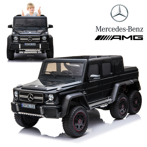 Licensed Mercedes Benz AMG G63 6x6 Kids Ride On Car with 2.4G Remote Control, 12V 4 Motors, Stroller Function, Openable Doors, Spring Suspension, USB MP3 Player & Bluetooth Function