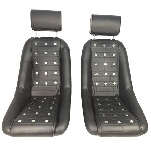 Mid-Sized Classic Bucket Seat w/ Sliders in Black - Polyurethane Faux Leather
