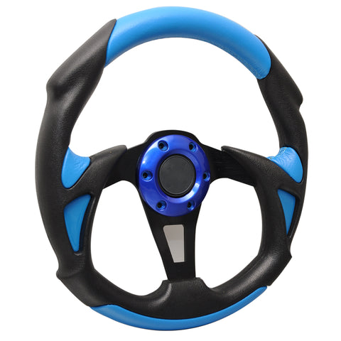 Universal JDM 6-Holed Bolt 320mm Black / Blue PVC Leather Racing Steering Wheel
