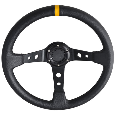 350MM Universal Black PVC Leather Steering Wheel Yellow Deep Dish+ Horn Button