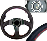 320MM Black 6-Bolt Steering Wheel & Horn Button