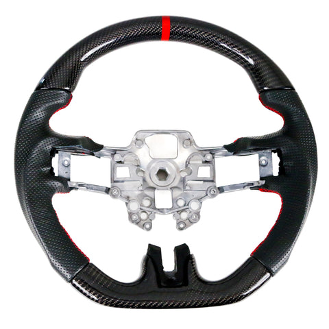 19-20 Ford Mustang V2 Steering Wheel CF & Leather W/ Red stitching Ring