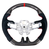 19-20 Ford Mustang V3 Steering wheel CF W/ Alcantara Red Sttiching Red Ring