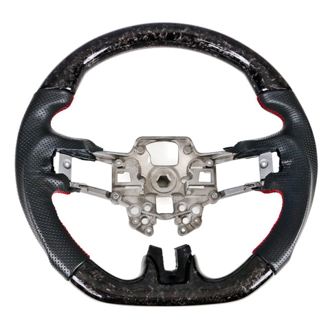 19-20 Ford Mustang V4 Steering Wheel Forge CF & Leather & Red Stitching