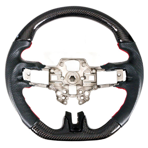 19-20 Ford Mustang Steering Wheel CF W/ Leather Black Red Stitching