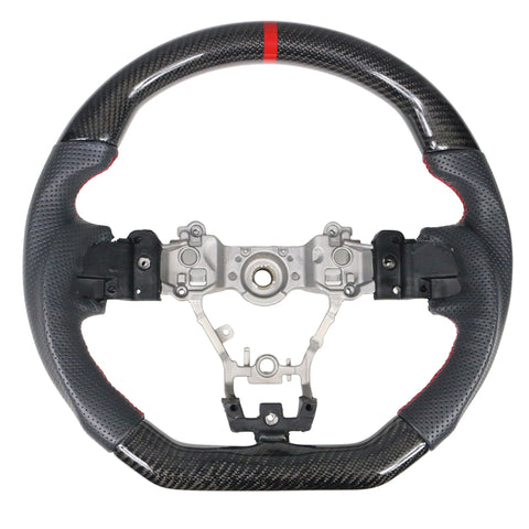 15-19 Subaru WRX Steering Wheel CF+Perf Leather+Red Stitching+Red Line