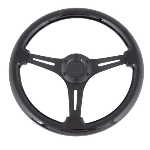 Universal 350mm 6 Hole Black Steering Wheel Spokes BD Logo Horn
