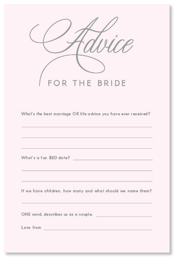 Bride Advice Card