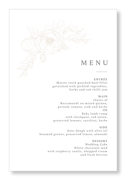 All For Love Menu