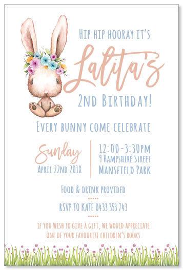 Bunnies Birthday Invitation