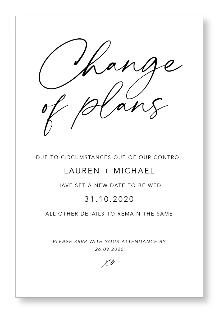 Change of Plans Invitation
