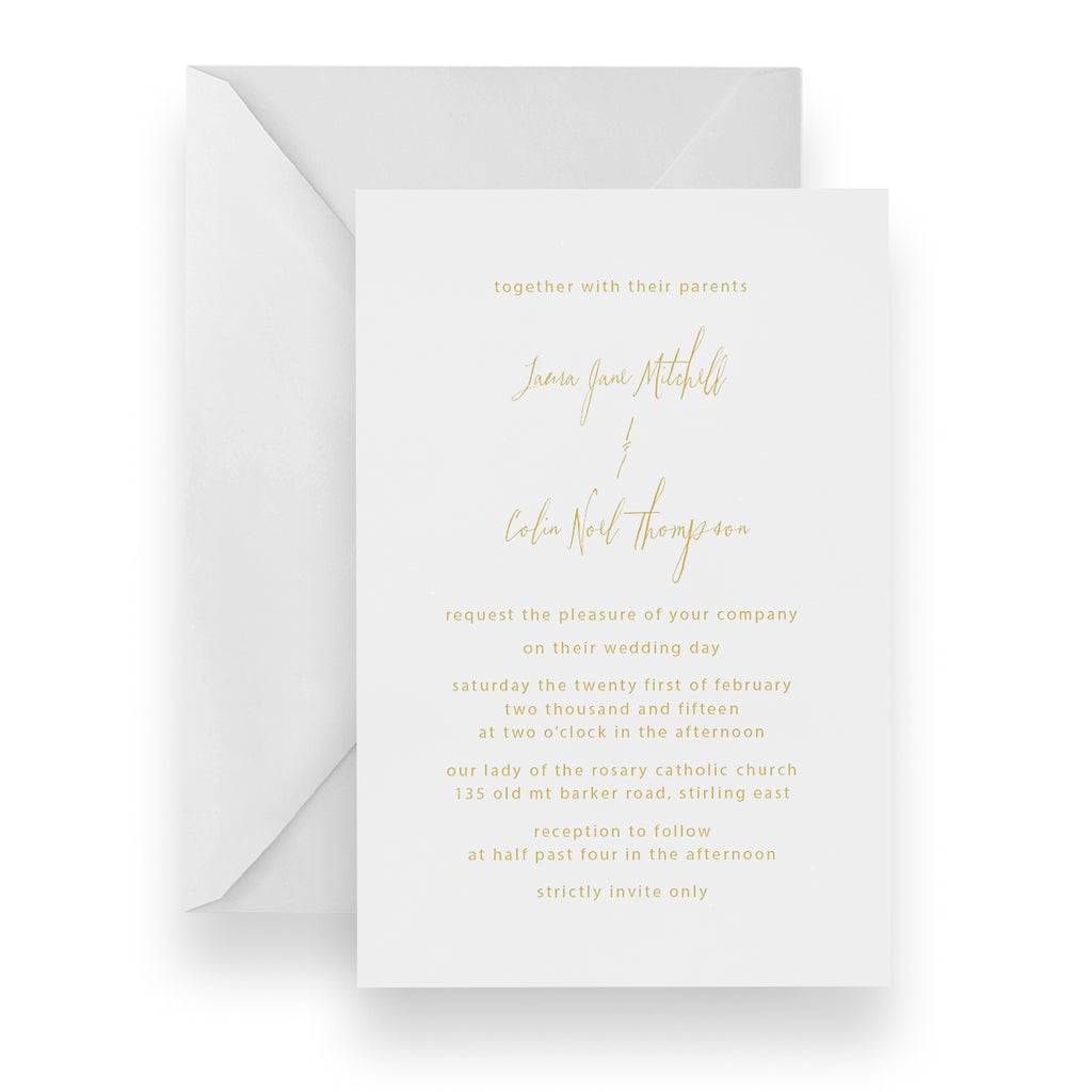 Hand Written Foil Invitation