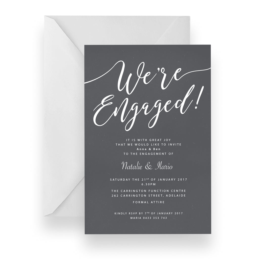 Mod Engagement White Ink Invitation
