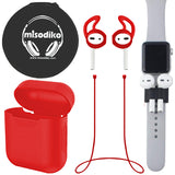 misodiko Apple AirPods Accessoryis Kit 5in1 Set, Soft Protective Silicone Case& Watch Band Holder& Anti-lost Strap& Ear Cover Hooks& EVA Storage Pouch