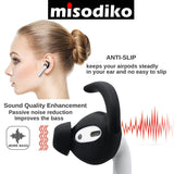 misodiko Silicone Ear Hooks Earbuds Covers for AirPods 2 and 1 or EarPods, [Sound Quality Enhancement] Anti-Slip, Passive Noise Reduction (2-Pairs)