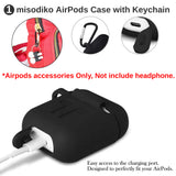 misodiko Apple AirPods Accessories Kit 5in1 Set, Protective Silicone Case with Carabiner& Watch Band Holder& Anti-lost Strap& Ear Cover Hooks& EVA Storage Pouch