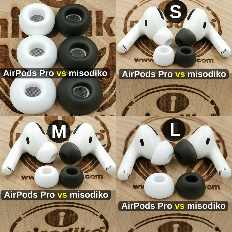 misodiko Comfy Soft Silicone Earbuds Ear Tips for Apple AirPods Pro/ Air Pods 3rd Gen - Replacement Earphones Eartips (3Pairs, Transparent Black)